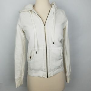 J. Crew Sherpa Fleece ivory/white full zip hoodie